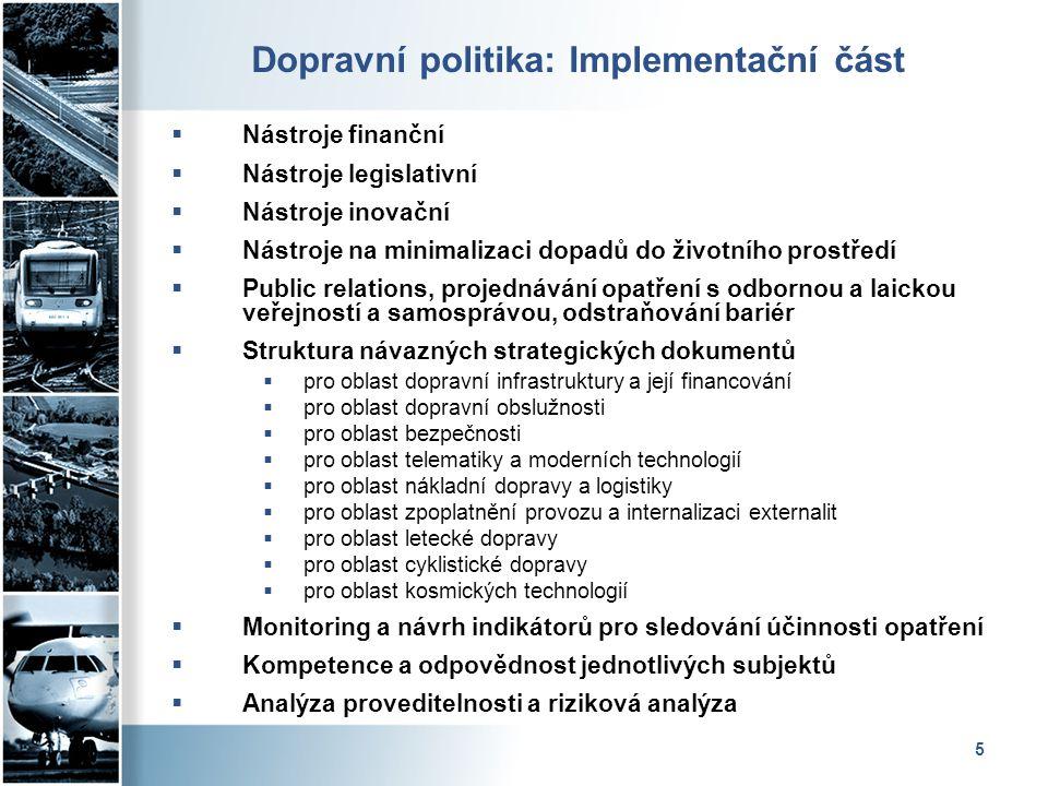 5 Dopravní politika: Implementační část  Nástroje finanční  Nástroje legislativní  Nástroje inovační  Nástroje na minimalizaci dopadů do životního