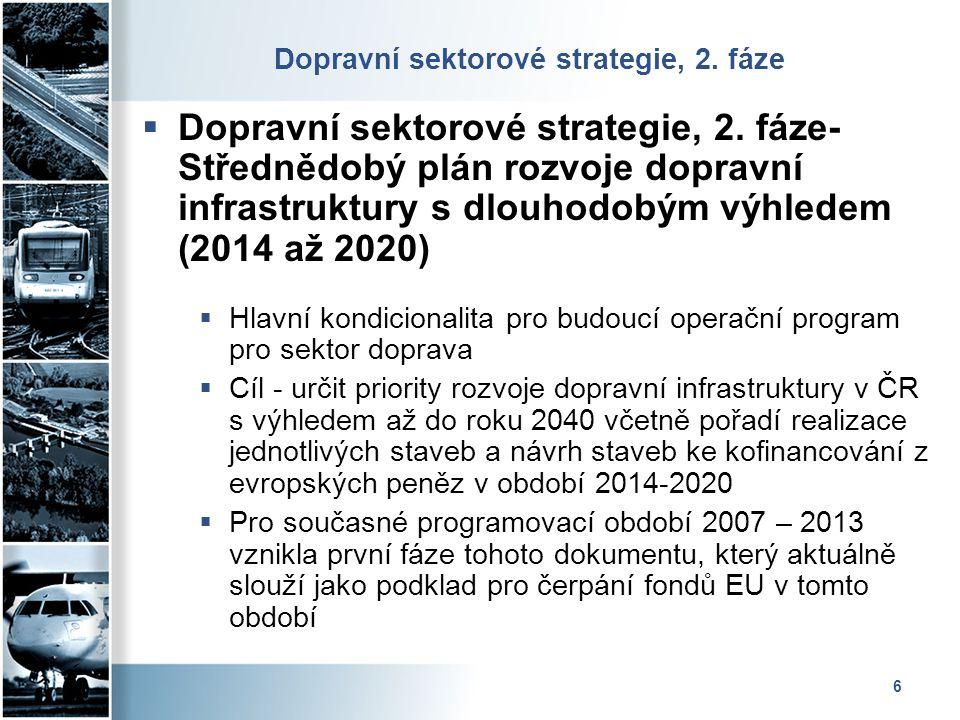 6 Dopravní sektorové strategie, 2. fáze  Dopravní sektorové strategie, 2. fáze- Střednědobý plán rozvoje dopravní infrastruktury s dlouhodobým výhled