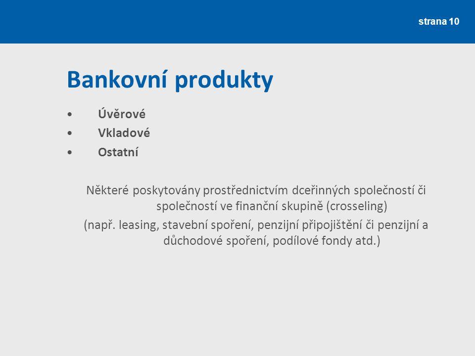 strana 11 Úvěrové produkty Z pohledu banky se jedná o aktiva = generují výnosy Dělení úvěrů dle charakteru: a) peněžní úvěry a půjčky b) závazkové (ručitelské) úvěry Dělení úvěrů dle splatnosti: a) krátkodobé – do 1 roku b) střednědobé – 1 až 4 roky c) dlouhodobé – nad 4 roky