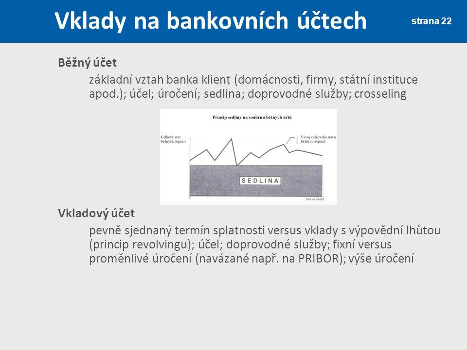 strana 22 Vklady na bankovních účtech Běžný účet základní vztah banka klient (domácnosti, firmy, státní instituce apod.); účel; úročení; sedlina; dopr