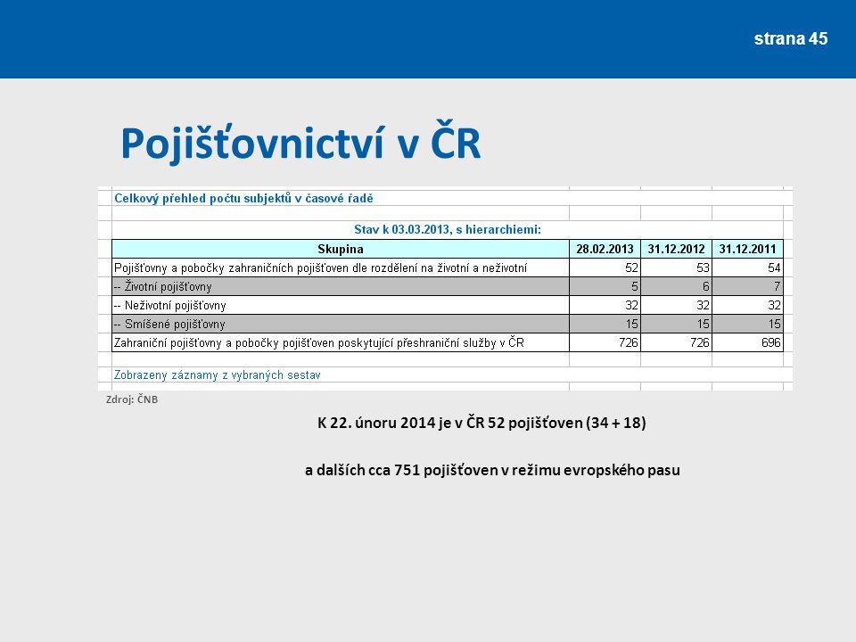 strana 46 Pojišťovnictví v ČR V roce 2008 se držitelkou historicky první licence tuzemské zajišťovny stala společnost VIG Re zajišťovna, a.