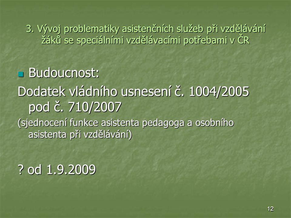3. Vývoj problematiky asistenčních služeb při vzdělávání žáků se speciálními vzdělávacími potřebami v ČR Budoucnost: Budoucnost: Dodatek vládního usne