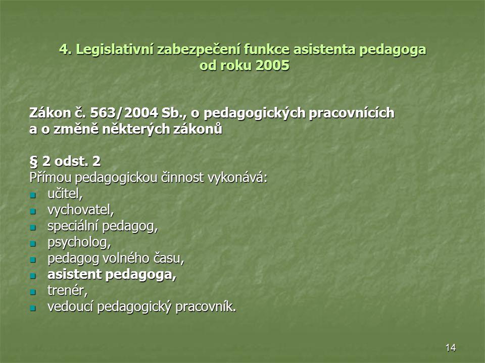 14 4. Legislativní zabezpečení funkce asistenta pedagoga od roku 2005 Zákon č. 563/2004 Sb., o pedagogických pracovnících a o změně některých zákonů §