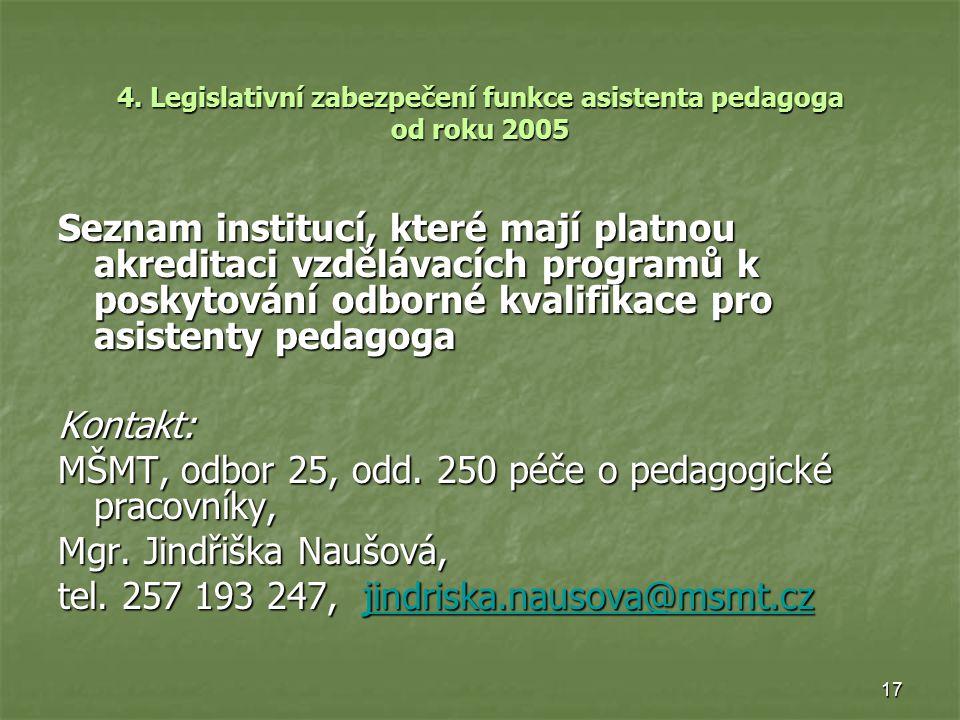 17 4. Legislativní zabezpečení funkce asistenta pedagoga od roku 2005 Seznam institucí, které mají platnou akreditaci vzdělávacích programů k poskytov