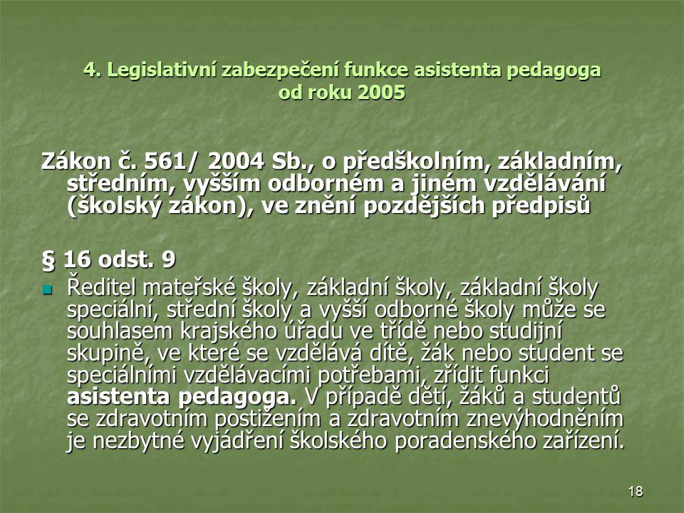 18 4. Legislativní zabezpečení funkce asistenta pedagoga od roku 2005 Zákon č. 561/ 2004 Sb., o předškolním, základním, středním, vyšším odborném a ji