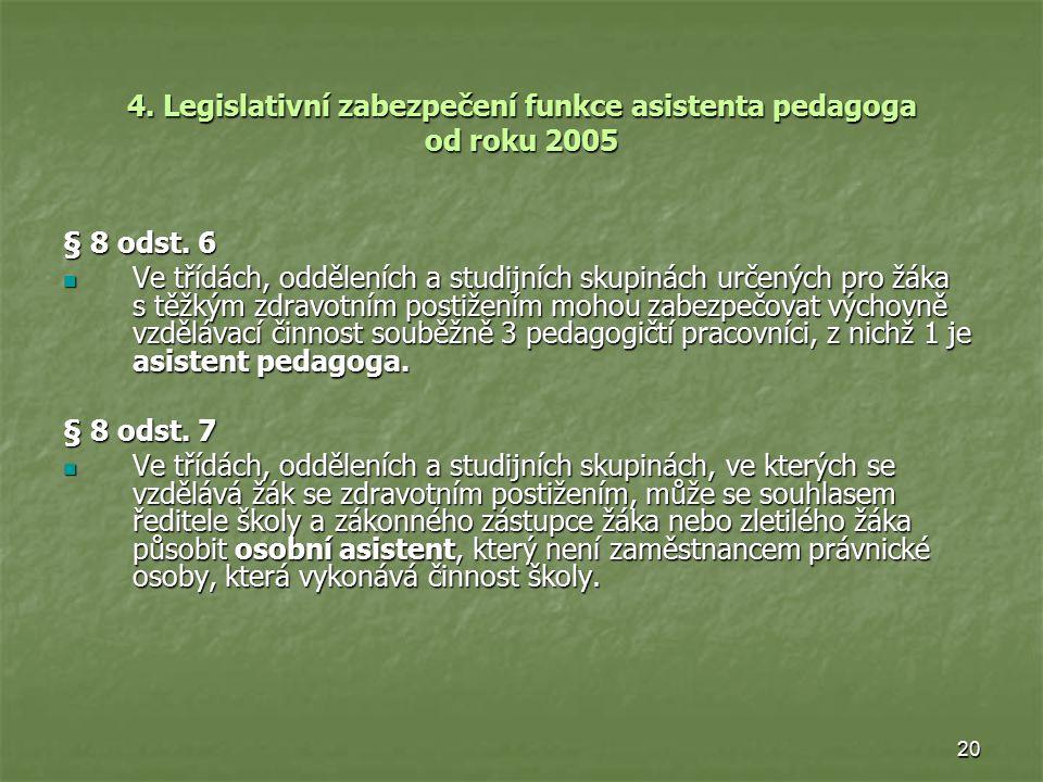 20 4. Legislativní zabezpečení funkce asistenta pedagoga od roku 2005 § 8 odst. 6 Ve třídách, odděleních a studijních skupinách určených pro žáka s tě