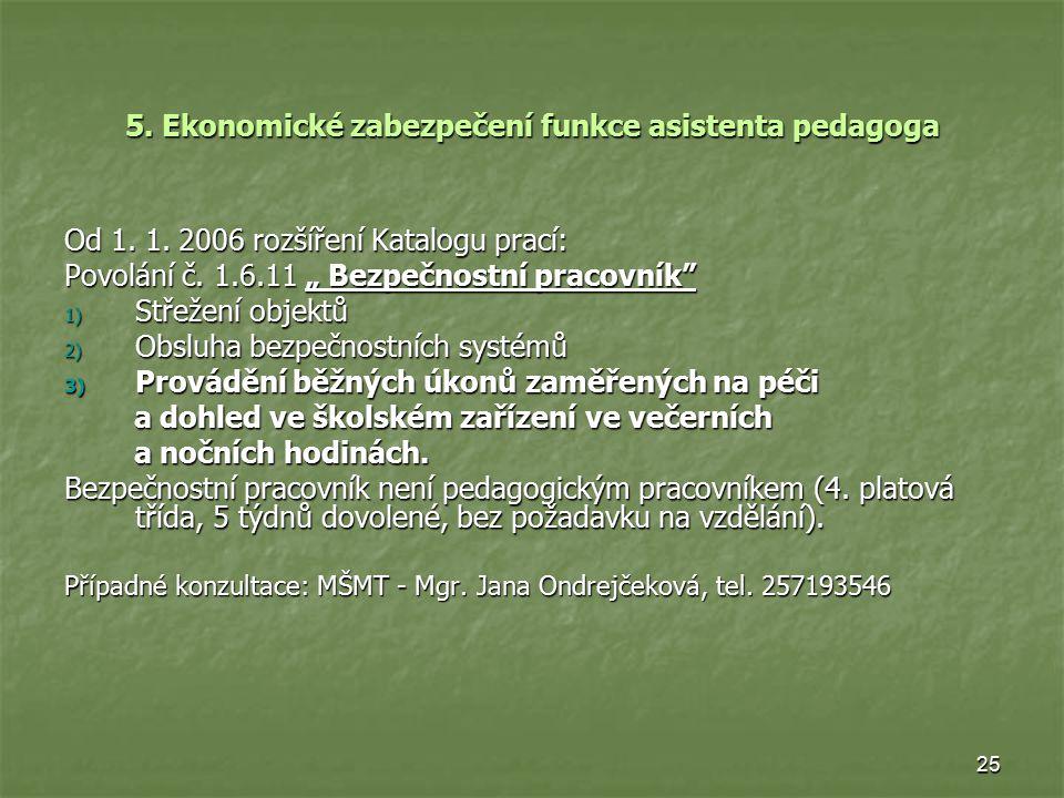 25 5.Ekonomické zabezpečení funkce asistenta pedagoga Od 1.