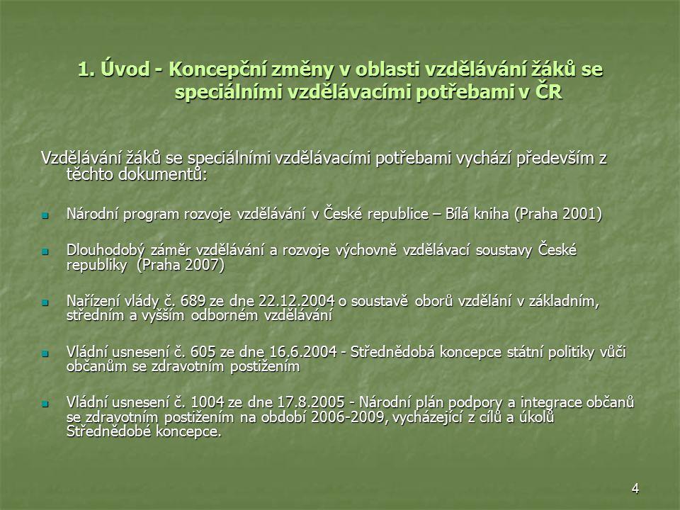4 1. Úvod - Koncepční změny v oblasti vzdělávání žáků se speciálními vzdělávacími potřebami v ČR Vzdělávání žáků se speciálními vzdělávacími potřebami