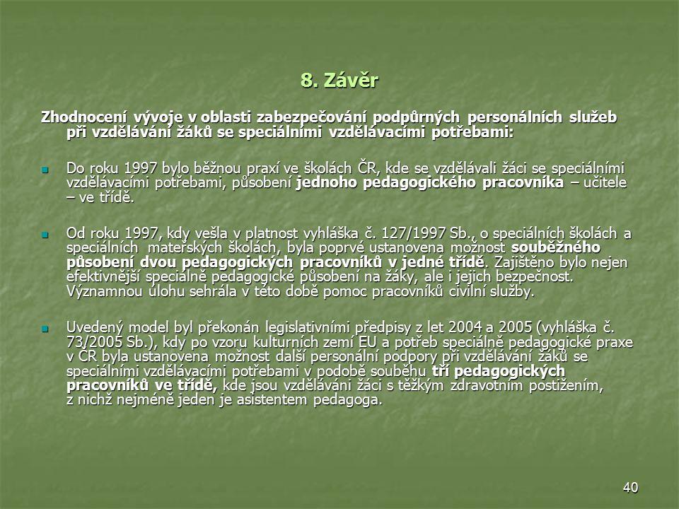 40 8. Závěr Zhodnocení vývoje v oblasti zabezpečování podpůrných personálních služeb při vzdělávání žáků se speciálními vzdělávacími potřebami: Do rok