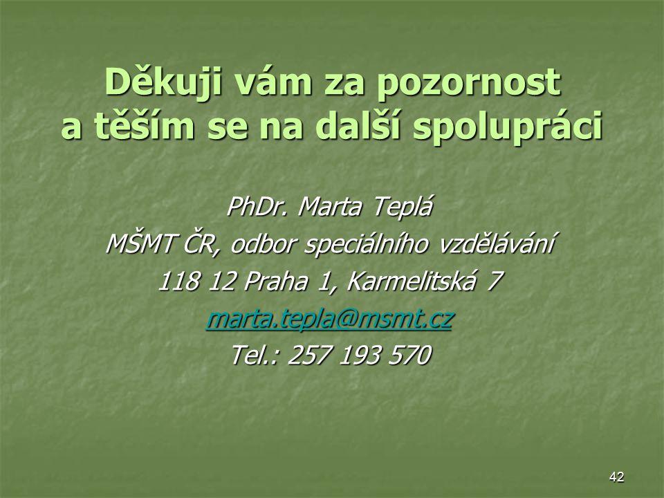 42 Děkuji vám za pozornost a těším se na další spolupráci PhDr. Marta Teplá MŠMT ČR, odbor speciálního vzdělávání 118 12 Praha 1, Karmelitská 7 marta.