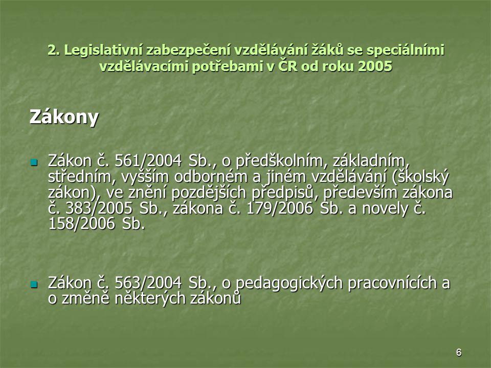 6 2. Legislativní zabezpečení vzdělávání žáků se speciálními vzdělávacími potřebami v ČR od roku 2005 Zákony Zákon č. 561/2004 Sb., o předškolním, zák