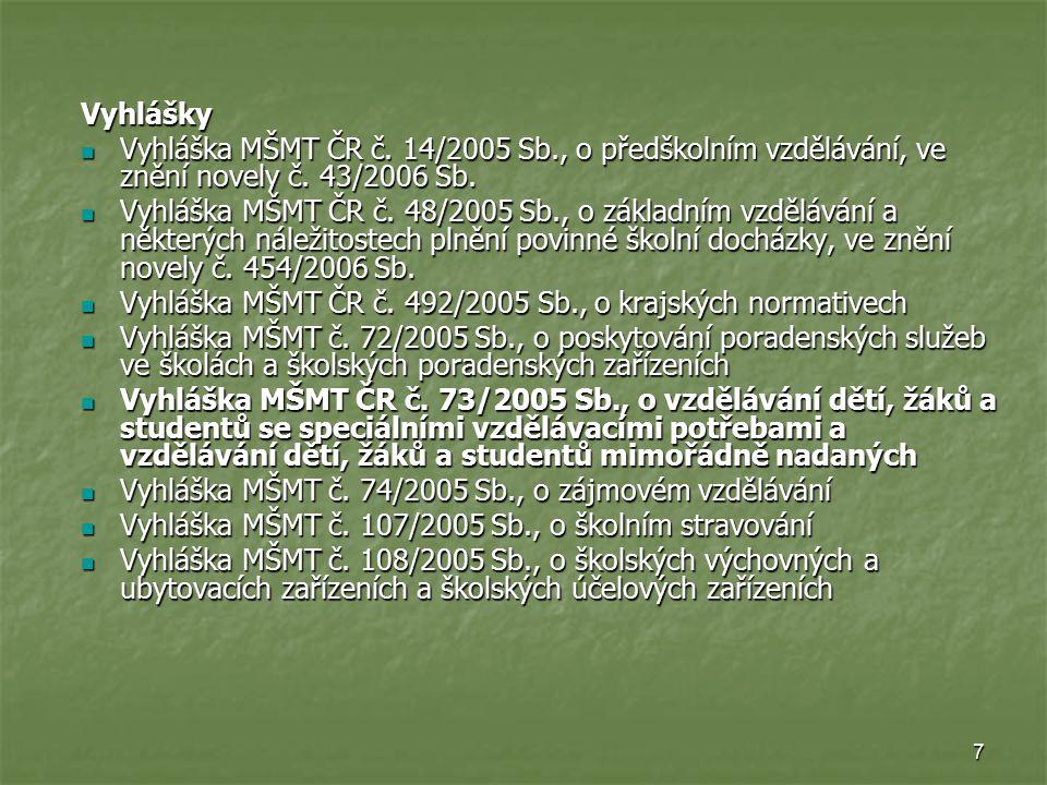 7 Vyhlášky Vyhláška MŠMT ČR č. 14/2005 Sb., o předškolním vzdělávání, ve znění novely č. 43/2006 Sb. Vyhláška MŠMT ČR č. 14/2005 Sb., o předškolním vz
