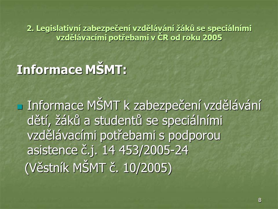 8 2. Legislativní zabezpečení vzdělávání žáků se speciálními vzdělávacími potřebami v ČR od roku 2005 Informace MŠMT: Informace MŠMT k zabezpečení vzd