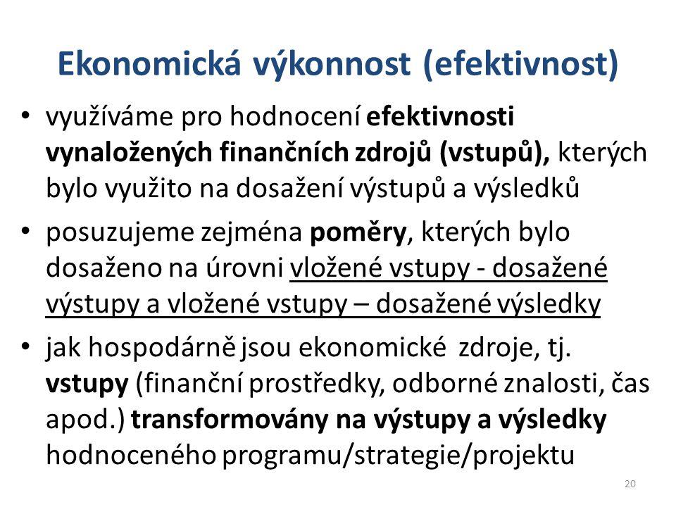 Ekonomická výkonnost (efektivnost) využíváme pro hodnocení efektivnosti vynaložených finančních zdrojů (vstupů), kterých bylo využito na dosažení výstupů a výsledků posuzujeme zejména poměry, kterých bylo dosaženo na úrovni vložené vstupy - dosažené výstupy a vložené vstupy – dosažené výsledky jak hospodárně jsou ekonomické zdroje, tj.
