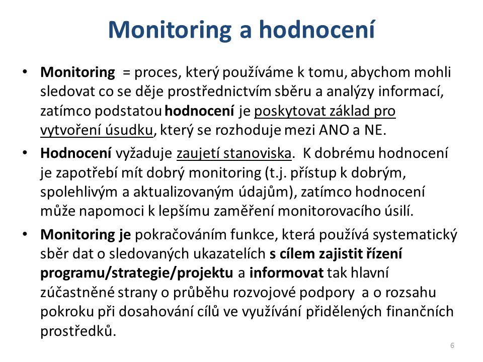 Monitoring a hodnocení Monitoring = proces, který používáme k tomu, abychom mohli sledovat co se děje prostřednictvím sběru a analýzy informací, zatímco podstatou hodnocení je poskytovat základ pro vytvoření úsudku, který se rozhoduje mezi ANO a NE.