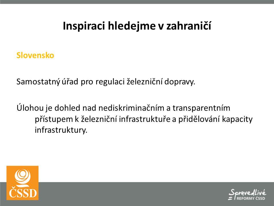 Inspiraci hledejme v zahraničí Slovensko Samostatný úřad pro regulaci železniční dopravy. Úlohou je dohled nad nediskriminačním a transparentním příst