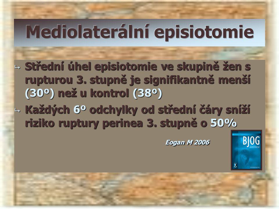  Střední úhel episiotomie ve skupině žen s rupturou 3. stupně je signifikantně menší (30º) než u kontrol (38º)  Každých 6º odchylky od střední čáry