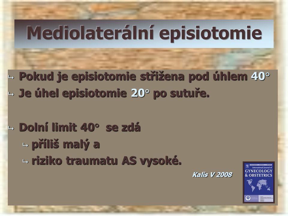  Pokud je episiotomie střižena pod úhlem 40°  Je úhel episiotomie 20° po sutuře.  Dolní limit 40° se zdá  příliš malý a  riziko traumatu AS vysok