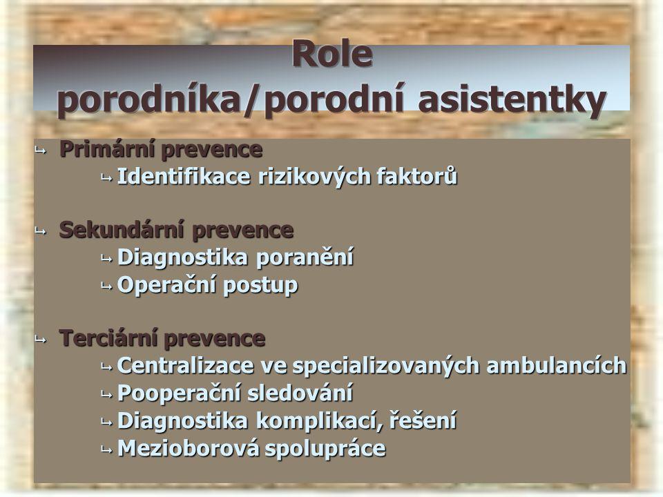  Primární prevence  Identifikace rizikových faktorů  Sekundární prevence  Diagnostika poranění  Operační postup  Terciární prevence  Centraliza