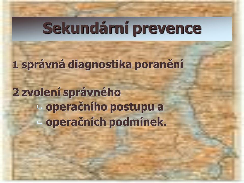 Sekundární prevence 1 správná diagnostika poranění 2zvolení správného  operačního postupu a  operačních podmínek.