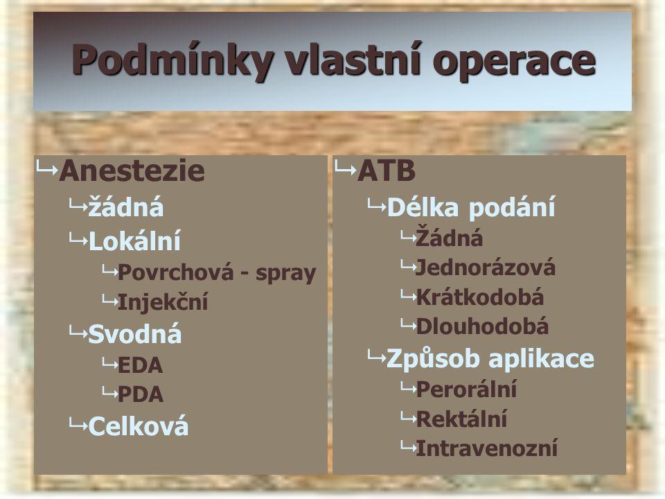 Podmínky vlastní operace   Anestezie   žádná   Lokální   Povrchová - spray   Injekční   Svodná   EDA   PDA   Celková   ATB   Dél