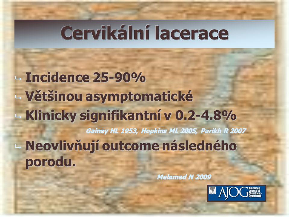  Incidence 25-90%  Většinou asymptomatické  Klinicky signifikantní v 0.2-4.8% Gainey HL 1953, Hopkins ML 2005, Parikh R 2007  Neovlivňují outcome