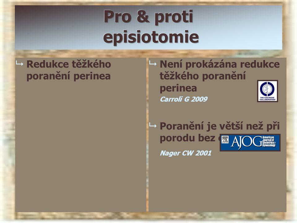   Redukce těžkého poranění perinea   Není prokázána redukce těžkého poranění perinea Carroli G 2009   Poranění je větší než při porodu bez episi