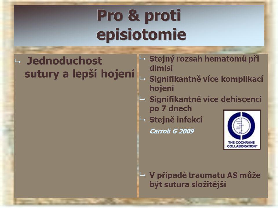   Jednoduchost sutury a lepší hojení   Stejný rozsah hematomů při dimisi   Signifikantně více komplikací hojení   Signifikantně více dehiscenc