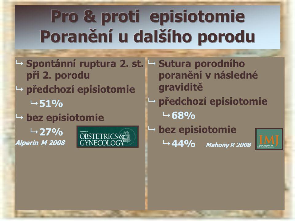   Spontánní ruptura 2. st. při 2. porodu   předchozí episiotomie   51%   bez episiotomie   27% Alperin M 2008   Sutura porodního poranění