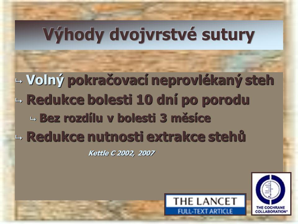  Volný pokračovací neprovlékaný steh  Redukce bolesti 10 dní po porodu  Bez rozdílu v bolesti 3 měsíce  Redukce nutnosti extrakce stehů Kettle C 2