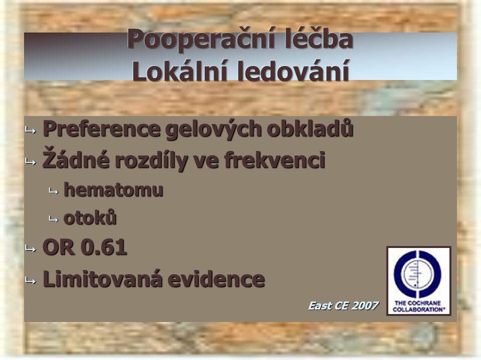  Preference gelových obkladů  Žádné rozdíly ve frekvenci  hematomu  otoků  OR 0.61  Limitovaná evidence East CE 2007