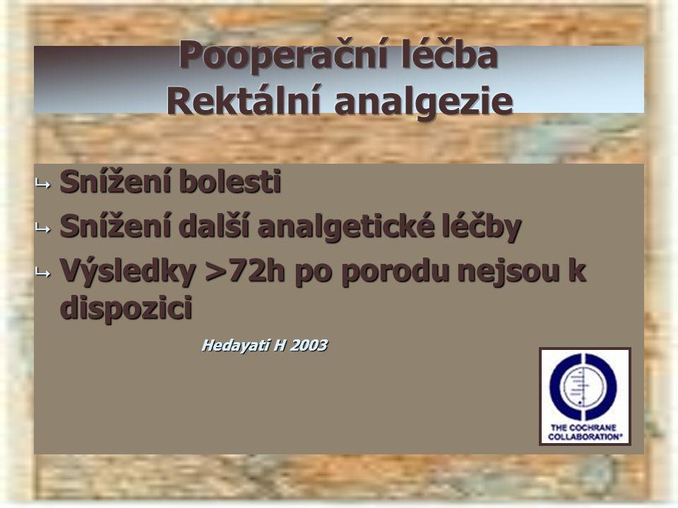  Snížení bolesti  Snížení další analgetické léčby  Výsledky >72h po porodu nejsou k dispozici Hedayati H 2003