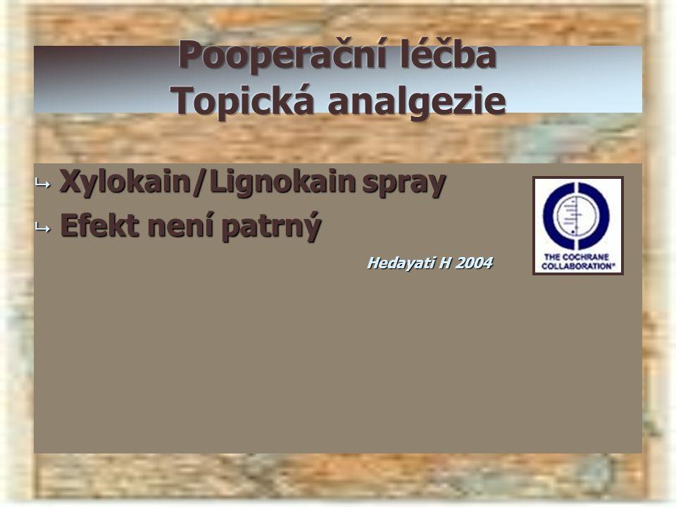  Xylokain/Lignokain spray  Efekt není patrný Hedayati H 2004