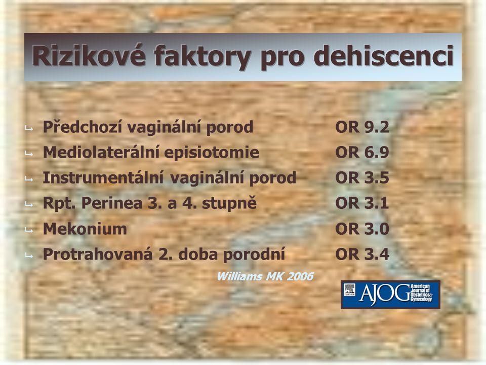   Předchozí vaginální porodOR 9.2   Mediolaterální episiotomieOR 6.9   Instrumentální vaginální porodOR 3.5   Rpt. Perinea 3. a 4. stupněOR 3.