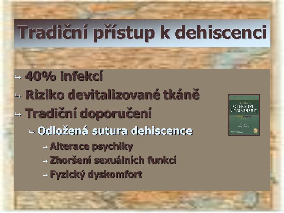  40% infekcí  Riziko devitalizované tkáně  Tradiční doporučení  Odložená sutura dehiscence  Alterace psychiky  Zhoršení sexuálních funkcí  Fyzi