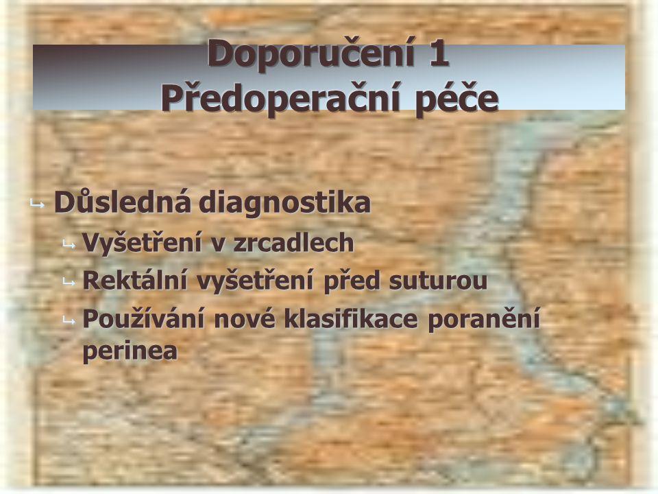  Důsledná diagnostika  Vyšetření v zrcadlech  Rektální vyšetření před suturou  Používání nové klasifikace poranění perinea