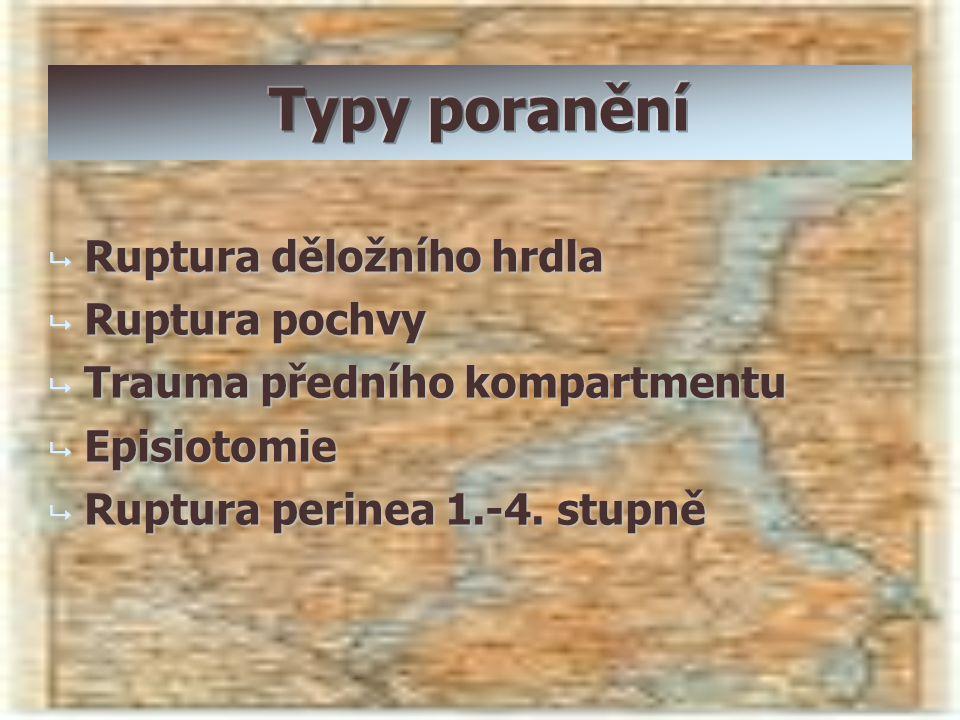  Ruptura děložního hrdla  Ruptura pochvy  Trauma předního kompartmentu  Episiotomie  Ruptura perinea 1.-4. stupně