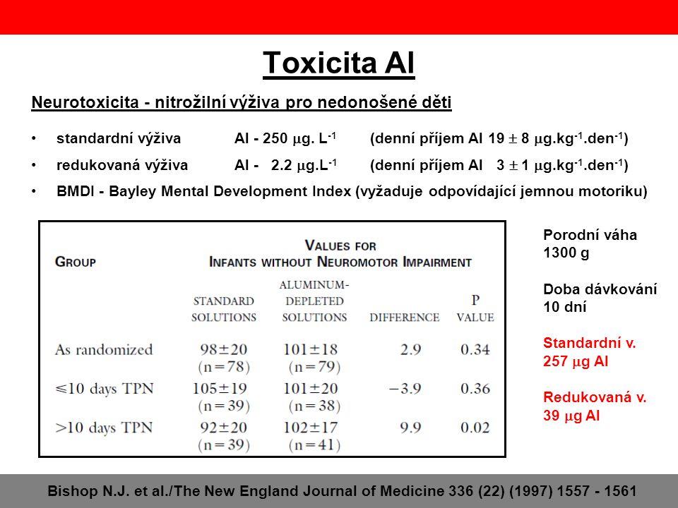Toxicita Al Bishop N.J. et al./The New England Journal of Medicine 336 (22) (1997) 1557 - 1561 Neurotoxicita - nitrožilní výživa pro nedonošené děti s