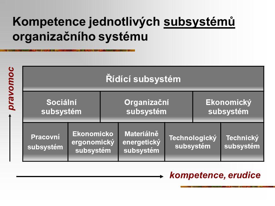 Kompetence jednotlivých subsystémů organizačního systému Řídící subsystém Sociální subsystém Organizační subsystém Ekonomický subsystém Pracovní subsy