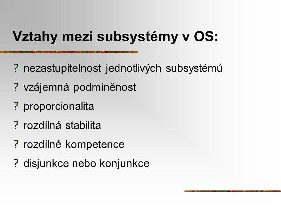 Vztahy mezi subsystémy v OS: ? nezastupitelnost jednotlivých subsystémů ? vzájemná podmíněnost ? proporcionalita ? rozdílná stabilita ? rozdílné kompe