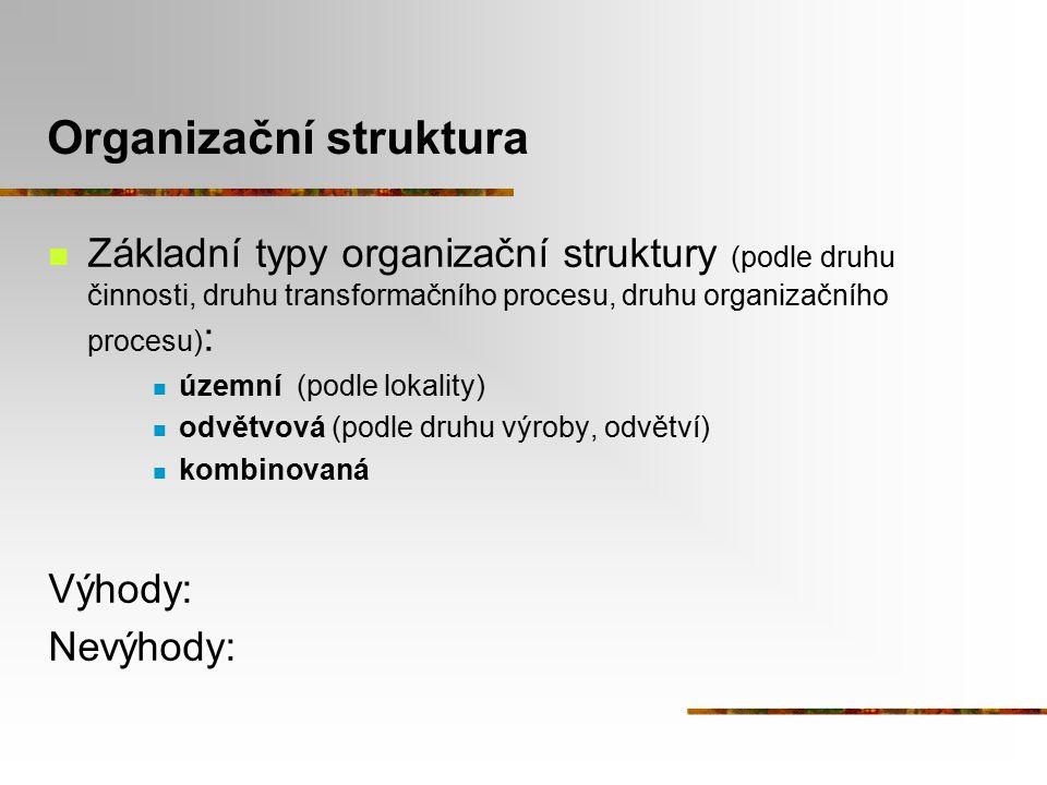 Organizační struktura Základní typy organizační struktury (podle druhu činnosti, druhu transformačního procesu, druhu organizačního procesu) : územní