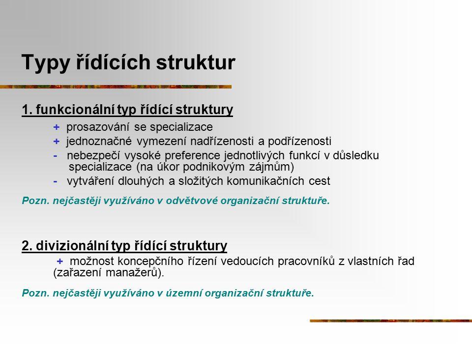 Typy řídících struktur 1. funkcionální typ řídící struktury + prosazování se specializace + jednoznačné vymezení nadřízenosti a podřízenosti - nebezpe