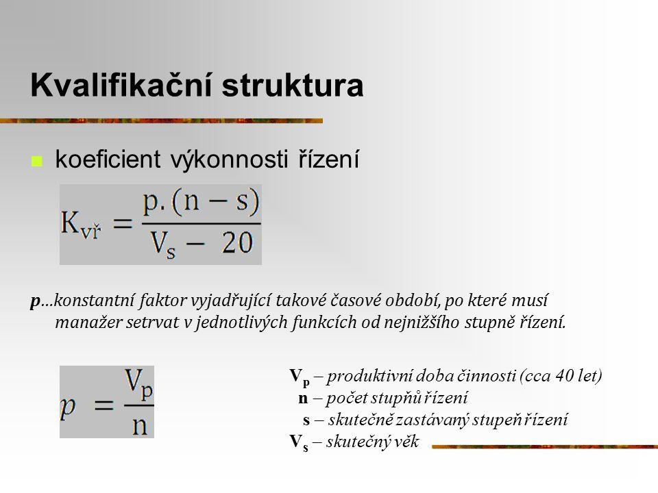 Kvalifikační struktura koeficient výkonnosti řízení p…konstantní faktor vyjadřující takové časové období, po které musí manažer setrvat v jednotlivých