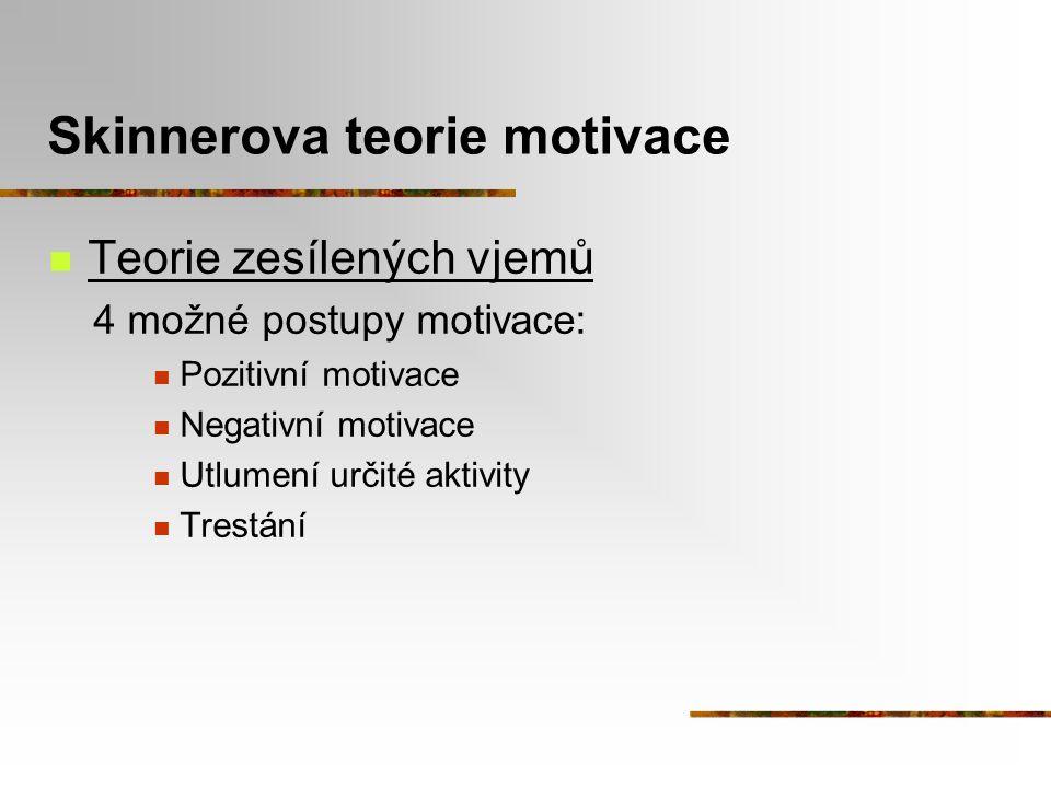 Skinnerova teorie motivace Teorie zesílených vjemů 4 možné postupy motivace: Pozitivní motivace Negativní motivace Utlumení určité aktivity Trestání