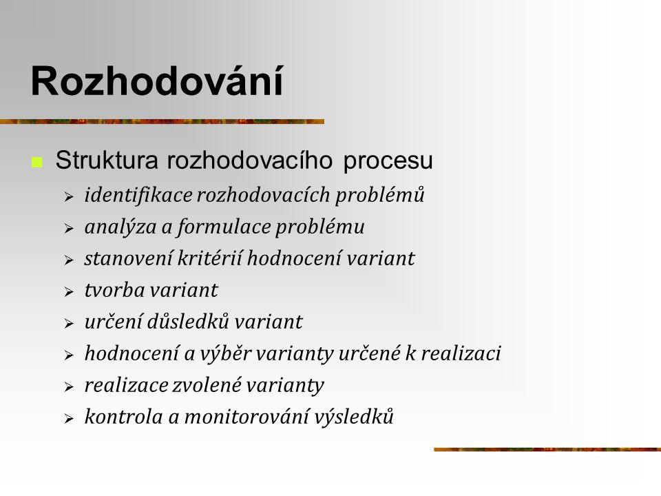 Rozhodování Struktura rozhodovacího procesu  identifikace rozhodovacích problémů  analýza a formulace problému  stanovení kritérií hodnocení varian