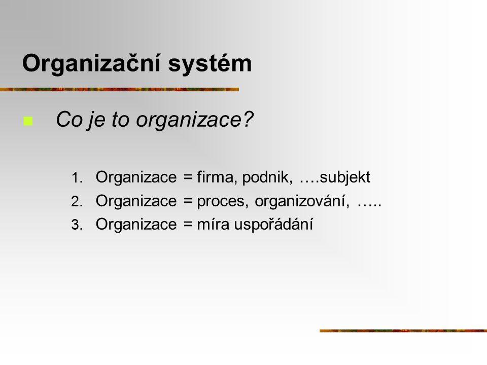Organizační systém Co je to organizace? 1. Organizace = firma, podnik, ….subjekt 2. Organizace = proces, organizování, ….. 3. Organizace = míra uspořá