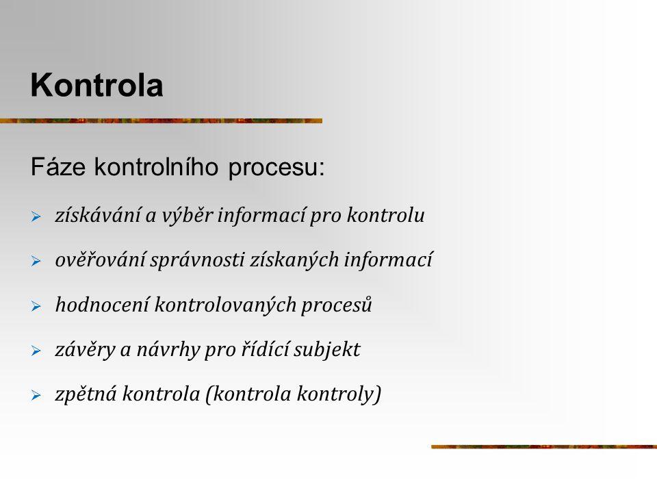 Kontrola Fáze kontrolního procesu:  získávání a výběr informací pro kontrolu  ověřování správnosti získaných informací  hodnocení kontrolovaných pr