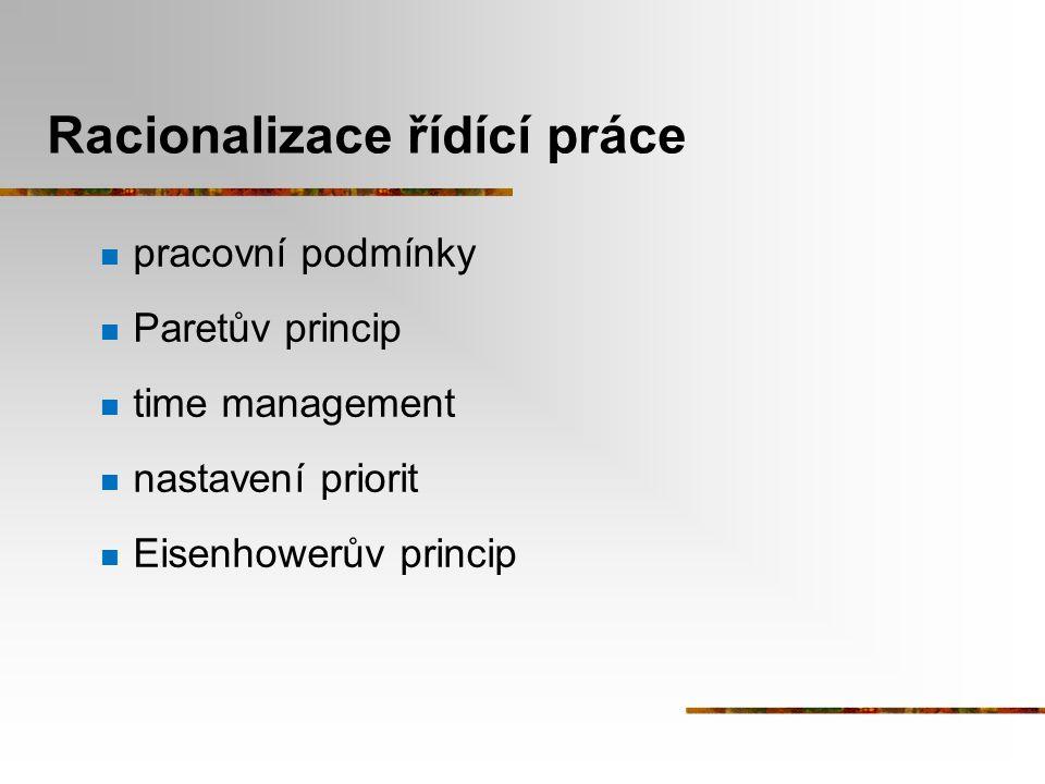 Racionalizace řídící práce pracovní podmínky Paretův princip time management nastavení priorit Eisenhowerův princip