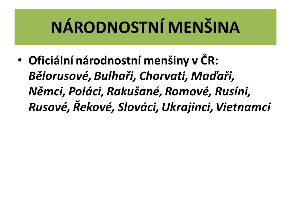 NÁRODNOSTNÍ MENŠINA Oficiální národnostní menšiny v ČR: Bělorusové, Bulhaři, Chorvati, Maďaři, Němci, Poláci, Rakušané, Romové, Rusíni, Rusové, Řekové