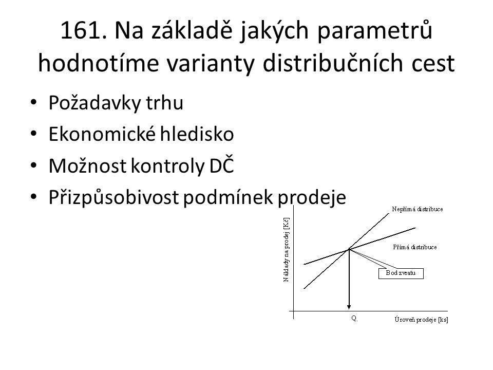 161. Na základě jakých parametrů hodnotíme varianty distribučních cest Požadavky trhu Ekonomické hledisko Možnost kontroly DČ Přizpůsobivost podmínek